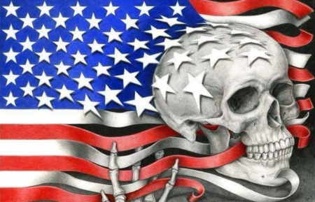 SHATTERED DREAMS - USA, AMERICA, STRIPES, FLAG, STARS, SKULL