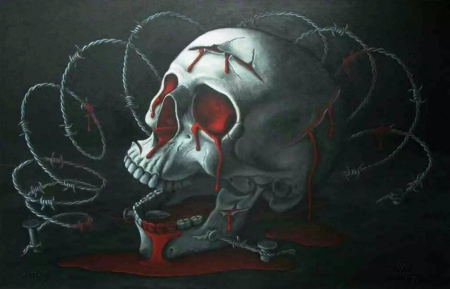 BLOODY SKULL - FANTASY, BARBED WIRE, BLACK, BLOOD, SKULL, DARK