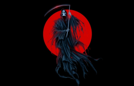 DARK REAPER - FANTASY, BLOOD MOON, SCYTHE, GRIM REAPER, BLACK, CG, RED, DARK