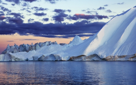iceberg in greenland - cloud, greenland, ocean, iceberg, sky