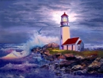 Lighthouse on rocky shores