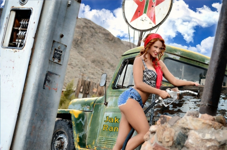 Jake's Ranch Hand - Samantha Harris, models, fun, entertainment, pumps, trucks, girls, fashion, blondes, texaco, western, style