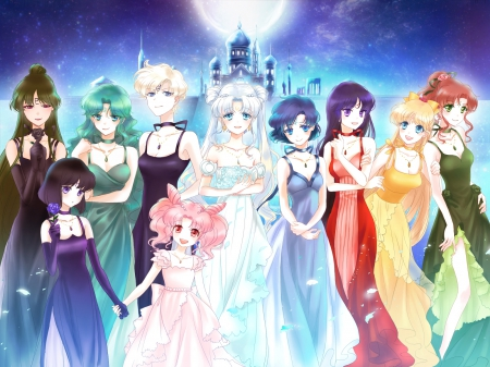 Bishoujo Senshi Sailor Moon - minako, pretty, ami, sweet, nice, group, makoto, anime, sailor moon, beauty, anime girl, long hair, team, lovely, gown, blonde, palace, short hair, sailofmoon, maiden, dress, blond, beautiful, sublime, moon, magical girl, tsukino usagi, rei, gorgeous, usagi, chibiusa, female, blonde hair, usagi tsukino, blond hair, tsukino, girl, lady, castle
