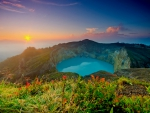 Sunrise over Kelimutu lake