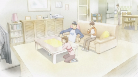 Happy Family - pretty, family, house, drawer, home, shuuichi nitori, beautiful, sweet, hourou musuko, nice, i, maho, shuuichi, anime, nitori, couch, beauty, anime girl, chair, nitori shuuichi, table, female, male, lovely, living room, television, kitchen, tv, transgender, boy, girl, wandering son