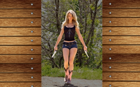 Cowgirl Paige - female, models, boots, ranch, fun, women, guns, pistols, cowgirls, girls, fashion, blondes, western, style