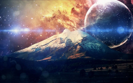 Galaxie Mountain - moons, planets, stars, mountains, space