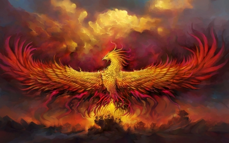 Phoenix - red, art, wings, phoenix, orange, world of warcraft, game, yellow, fire, fantasy, bird, feather, wow