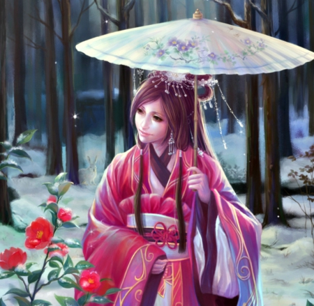 Oriental beauty - rose, umbrella, woman, kimono, geisha, winter, girl, sunmomo, flower, asian, garden, white, pink