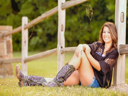 Leaning On The Fence - female, models, boots, ranch, fun, women, brunettes, rodeo, fences, cowgirls, girls, fashion, western, style