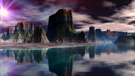 Canyon Reflections - beautiful, digital art, clouds, canyon, lake, water, cliffs, reflections, starry sky
