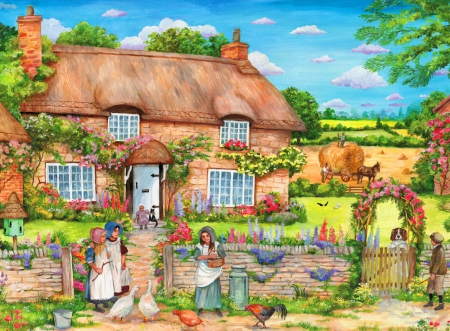 Cottage gathering - colorful, house, cottage, beautiful, spring, freshness, countryside, gathering, flowers, peaceful, village