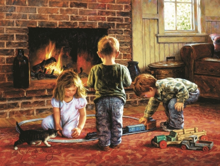 Playtime - fireplace, painting, children, armchair, room, cat, artwork, chimney