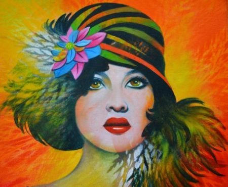 Retro Lady - retro, art, paintings, hats, beauty, fashion, vintage