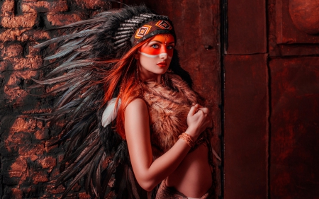 Native American - red, model, orange, native american, woman, hat, girl, feather, fur
