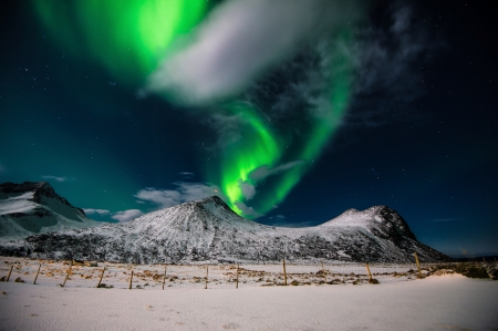 Splendor - winter time, sky, clouds, snowy, winter, splendor, snow, nature, aurora borealis, night