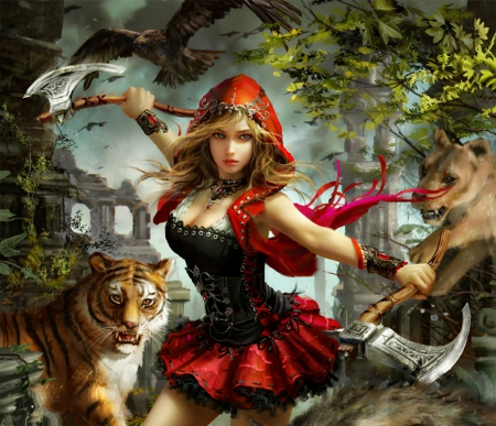Beautiful Fantasy Warrior - fantasy, warrior, girl, beautiful, animals