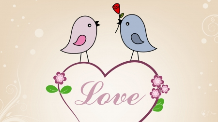 Birds N Love II - Valentines Day, rose, romance, tweety, love, heart, birds, flowers