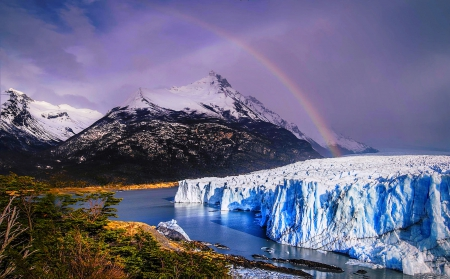 Rainbow Over The Glacier - forest, glacier, beautiful, rainbow, clouds, water, mountains, ice, Perito Moreno, snowy peaks