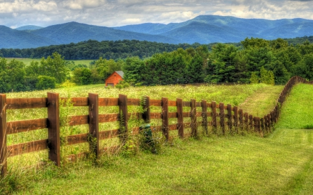 Long Fence in the Field - fences, mountains, landscapes, nature, fields, meadows, barns