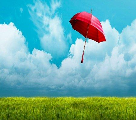 Blue sky In Red Umbrella - view, blue sky, beauty, lovely, landscape, beautiful, field, red umbrella