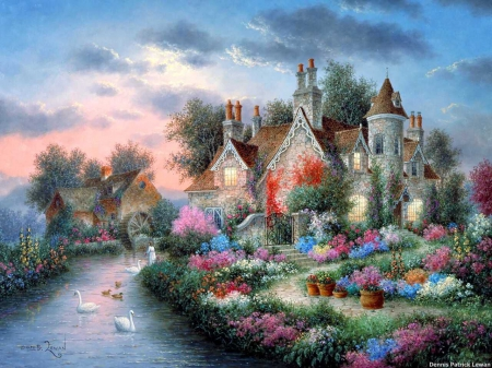 River Manor - house, watermill, painting, flowers, garden, trees, swans, artwork