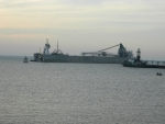 Great Lakes Ship Stuck on Sand Bar 1