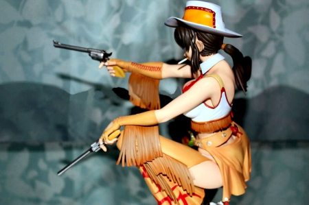 Cowgirl With Pistols - art, female, models, hats, boots, fun, women, guns, NRA, pistols, anime, cowgirls, girls, western, style