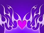 Pink heart in purple flames
