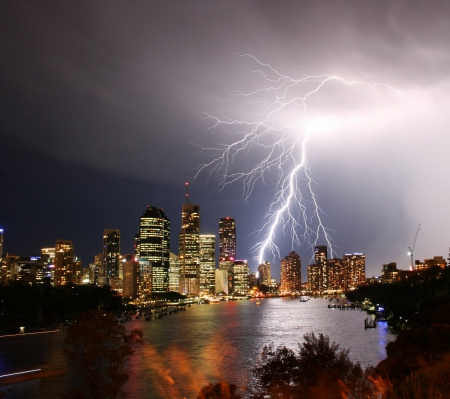 Powerful Lightning - electric, forces, electricity, sky, storm, weather, bolts, sea, panorama, city, lightning, grey, nature, night