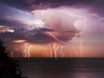 Multiply Lightnings Over the Coast