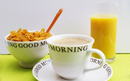 Good Morning - pretty, good morning, juice, cup of coffee, orange, cappuccino, breakfast, glass, coffee, oatmeal, coffee time, cup, morning