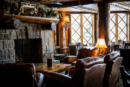 Whiteface Lodge - fire, cozy, leather, living room, place, winter