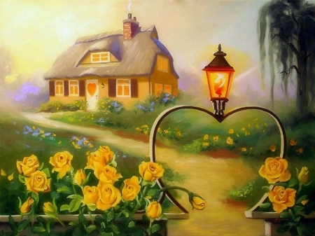 Yellow Roses Cottage - cottages, lovely, houses, colors, love four seasons, yellow, beautiful, attractions in dreams, roses, trees, hearts, paintings, bright, flowers, nature