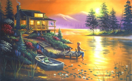 Boy Fishing at the Lake - lakes, cottages, lovely, colors, love four seasons, beautiful, trees, boats, boy, paintings, flowers, nature, cabins, fishing