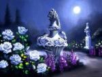 White Roses in Full Moon