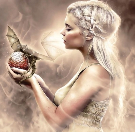 Dragon's mother - fantasy arts, fantasy, girl, tales, blonde, dragon, mother, fairy