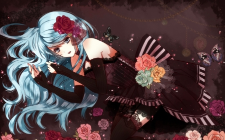 Where Am I? - butterflies, roses, elegant, elegance, gloves, anime, flowers, anime girl, flower in hair