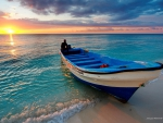 Boat on the Beach at Sunset
