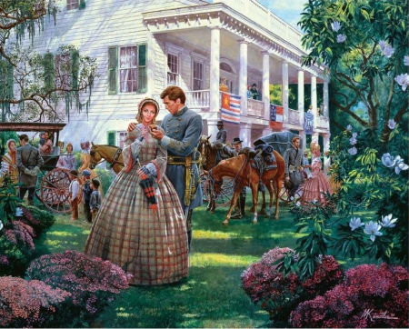 Magnolia Morning - house, soldier, man, horse, woman, artwork, flag, southern States, painting, blossoms, garden