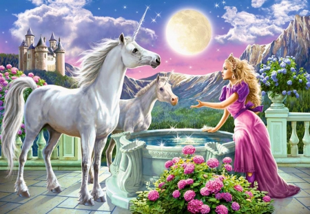 Unicorns of the Princess - sun, well, painting, blossoms, castle, woman, artwork, horses