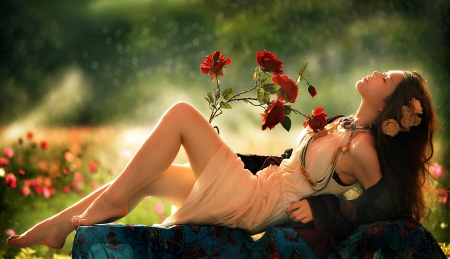 Beautiful Dreamer - red, profile, girl, dreamer, beautiful, roses