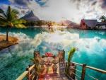 Romantic Dinner over Lagoon on Tropical Island