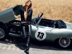 Jaguar E-Type with Model in Black Leather