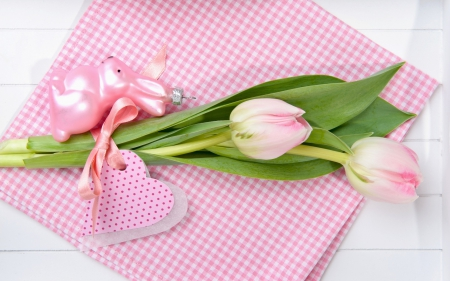 Happy Easter! - rabbit, easter, card, green, heart, flower, pink, figurine, tulip
