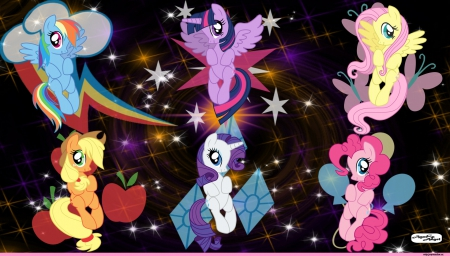 The Six Friends - mane six, mlp, cutie marks, cartoon