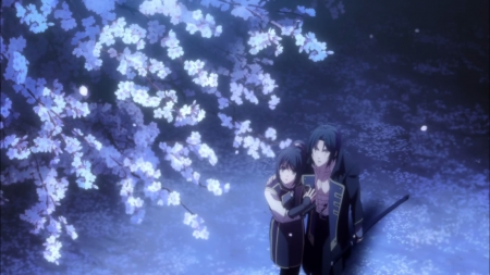 Full Bloom - pretty, yukimura chizuru, hakuouki, sweet, floral, cherry blossom, nice, anime, toshizou, beauty, anime girl, toshizou hijikata, sakura, lovely, romance, anime couple, chizuru yukimura, cherry, guy, sakura blossom, beautiful, blossom, couple, yukimura, female, male, romantic, shinsengumi, boy, girl, hakuouki shinsengumi kitan, hijikata toshizou, flower, hijikata, petals
