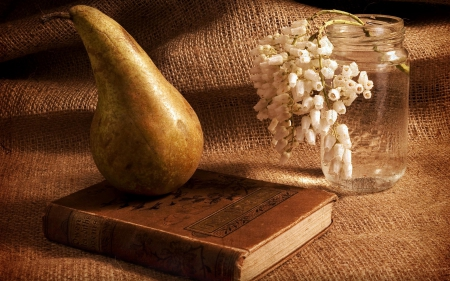 *So simple and beautiful* - burlap, pear, book, vase, small, still life, flowers, canvas, white