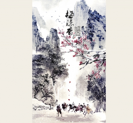 Winter scenery - horsemen, oriental, painting, moutains, Art, Ibuki Satsuki, winter