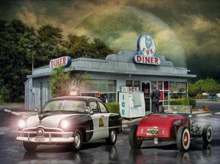 Cops and Hot Rodder's - cars, fox, usa, america, police, diner, hot rods